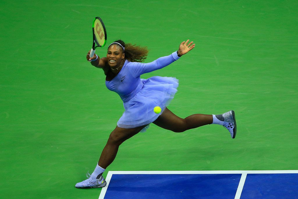 Serena Williams returns the ball during her women's singles second-round match against Carina Witthoeft of Germany on Day Three of the 2018 U.S. Open at the USTA Billie Jean King National Tennis Center on Aug. 29, 2018.