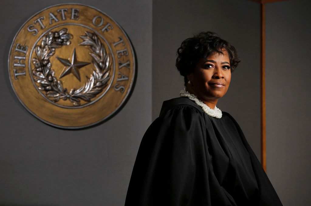 Jusge Tammy Kemp of the Texas 204th District Court is photographed in court at the Frank Crowley Court Building in Dallas.