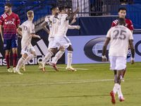 Los Angeles FC celebrate forward Cristian Arango's (29) goal during the second half of a match between FC Dallas and Los Angeles FC on Wednesday, Oct. 20, 2021, at Toyota Stadium in Frisco.