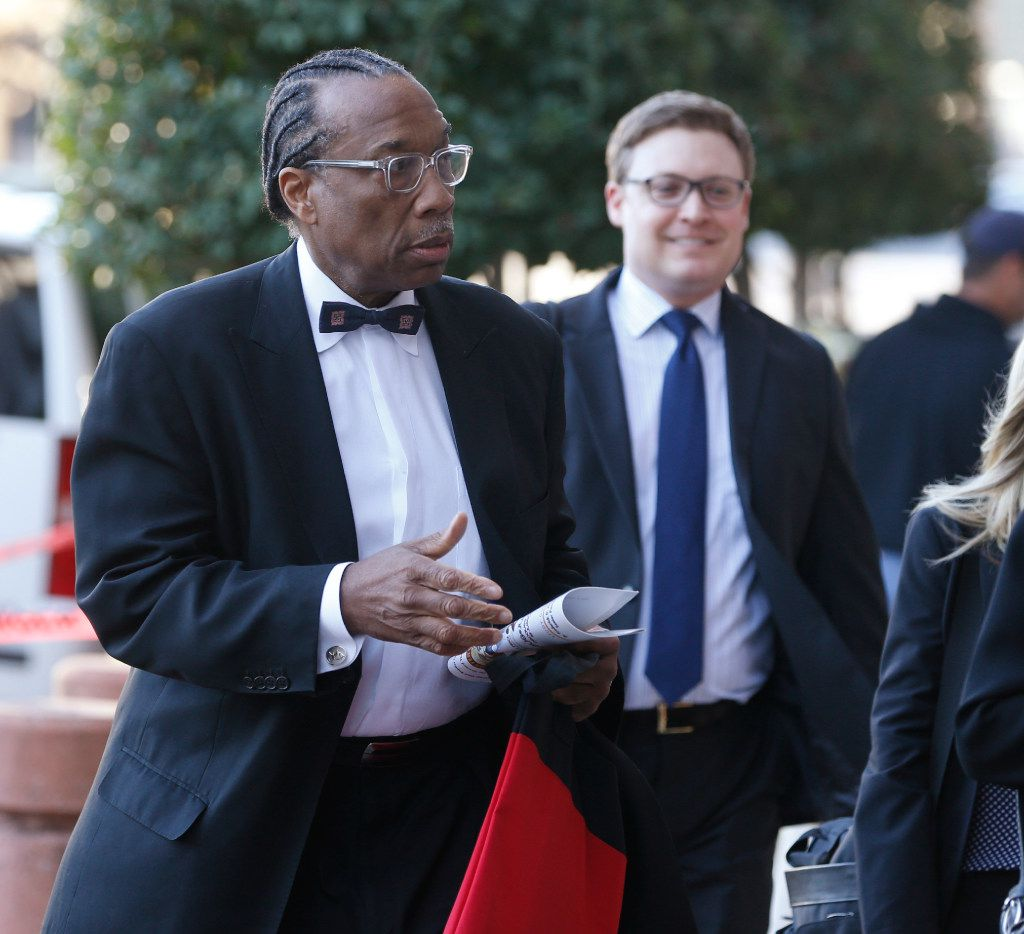 County Commissioner John Wiley Price walks into the Earle Cabell Federal Courthouse on the first day of his trial on February 21, 2017.  (Nathan Hunsinger/The Dallas Morning News)