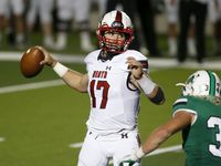 Rockwall Heath quarterback Josh Hoover (17) looks to throw against Southlake Carroll during their high school football game in Southlake, Texas, on Oct. 2, 2020. (Michael Ainsworth/Special Contributor)