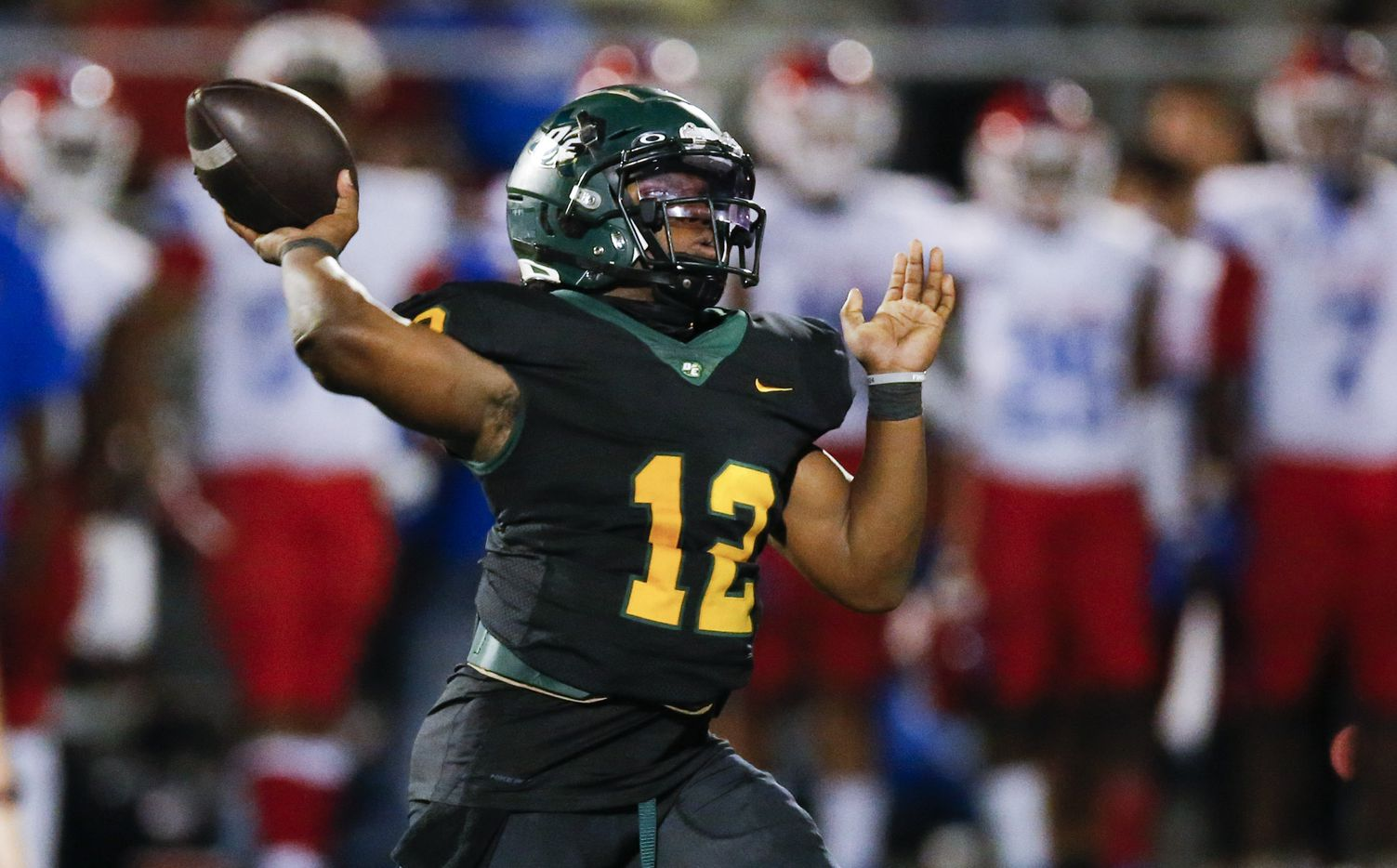 DeSoto senior quarterback throws during the second half of a high school football game against Duncanville at DeSoto High School, Friday, September 17, 2021. Duncanville won 42-21. (Brandon Wade/Special Contributor)