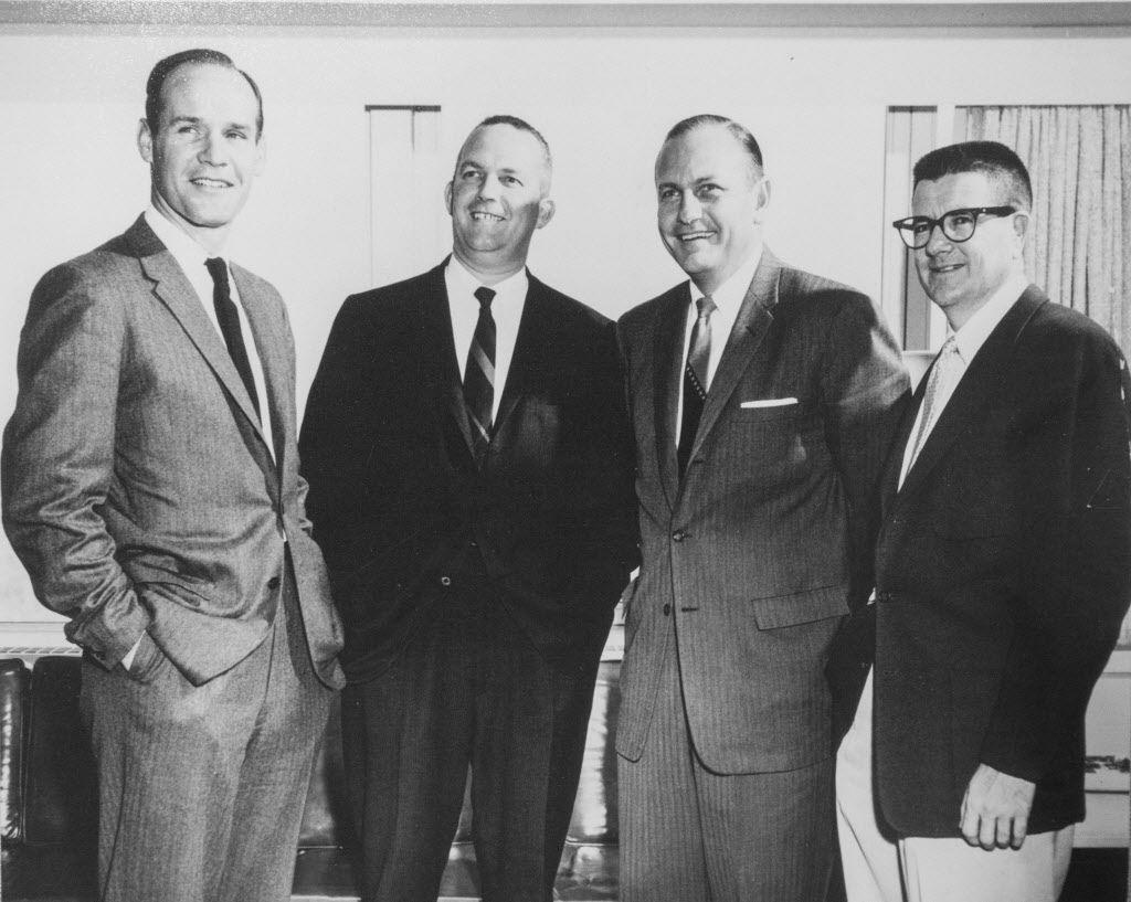 """The early Dallas Cowboys """"brain trust"""" -- Tom Landry, Bedford Wynne, Tex Schramm and Clint Murchison. (Photo by Brad Bradley)"""