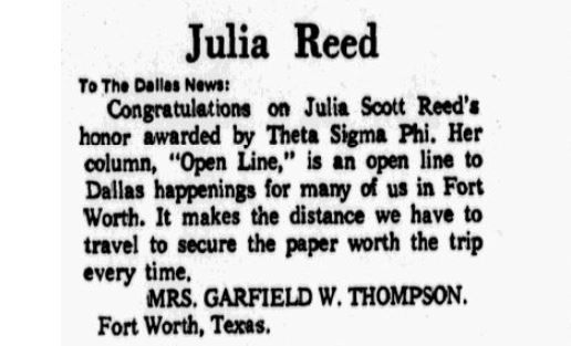 A letter to the editor praising Julia Scott Reed's column in the April 7, 1969 edition of The Dallas Morning  News