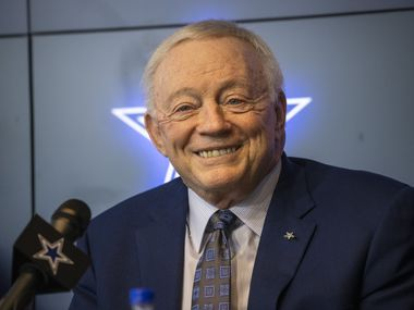 Dallas Cowboys Owner Jerry Jones speaks with media members during a pre-draft news conference at The Star in Frisco, Texas, on Tuesday, April 27, 2021.