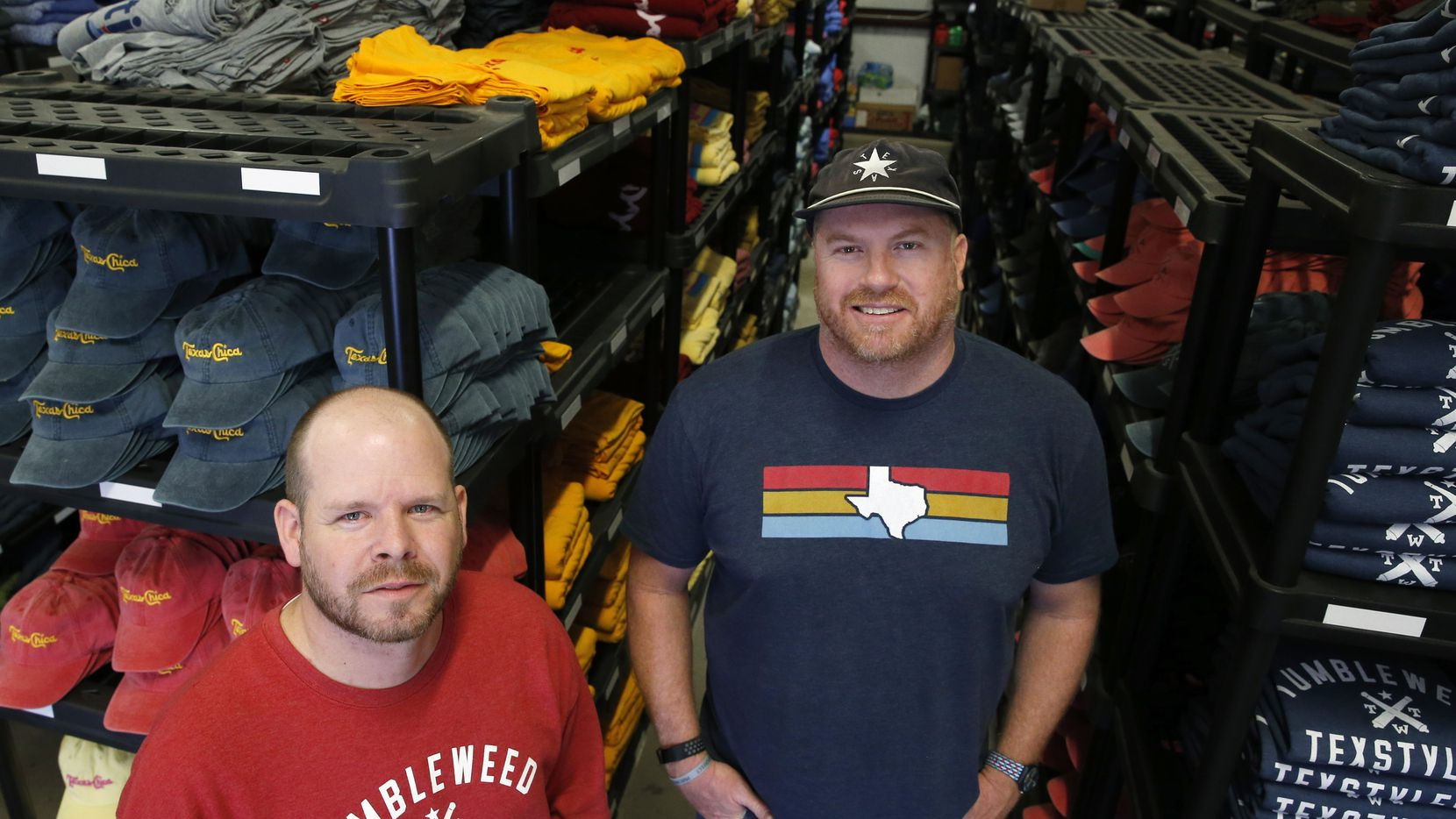 Brian Wysong (left) and Jeb Matulich started Tumbleweed TexStyles with a $700 investment. It's on track to sell $1.3 million in Texas-themed products this year.