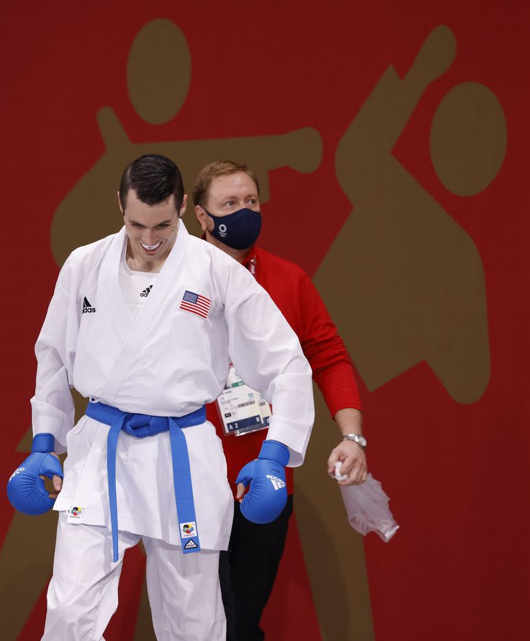 USA's Tom Scott prepares to enter the stage to fight Ukraine's Stanislav Horuna during the karate men's kumite -75kg elimination round at the postponed 2020 Tokyo Olympics at Nippon Budokan, on Friday, August 6, 2021, in Tokyo, Japan. Scott defeated Harspataki 8-3. Scott finished in fourth place in his pool and did not advance to the next round. (Vernon Bryant/The Dallas Morning News)