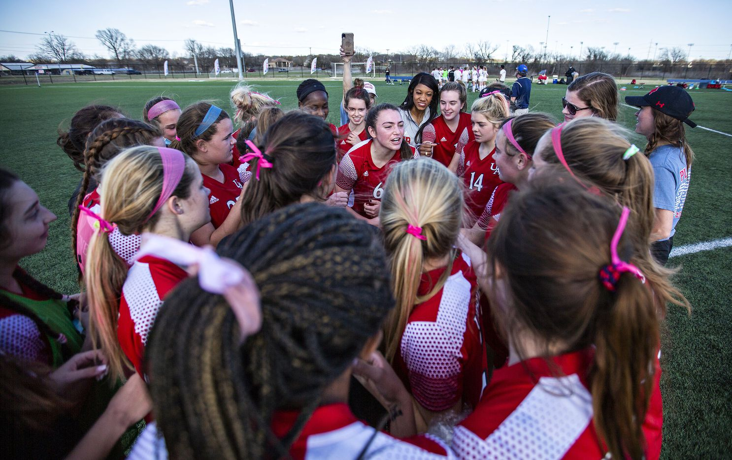 Ursuline's Kylie Dobbs (6) ramps up her team after their win over St. Agnes at their division 1 championship game at the Round Rock Multi Purpose Complex on March 5, 2021 in Round Rock, Texas. (Thao Nguyen/Special Contributor)