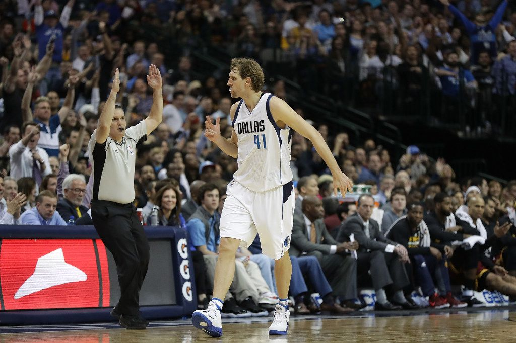 Dirk Nowitzki reacts after a three-pointER against the Cleveland Cavaliers in the second half at American Airlines Center on Jan. 30, 2017.