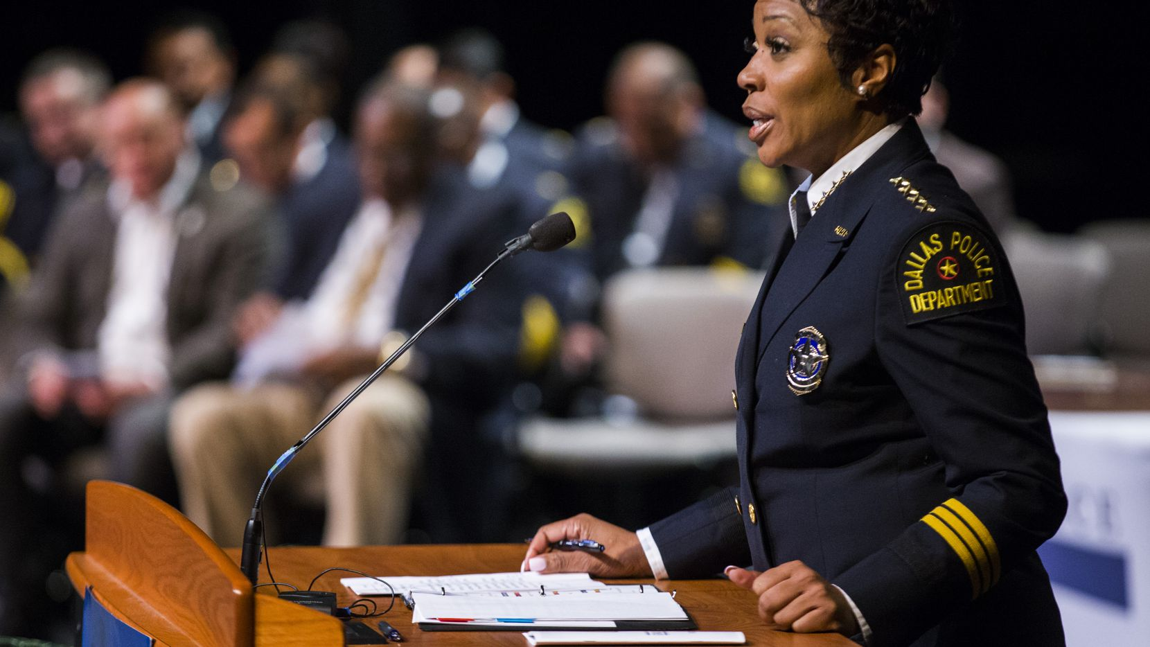 Police Chief U. Renee Hall spoke Friday to Dallas Police Department academy graduates at Mountain View Community College in Dallas.