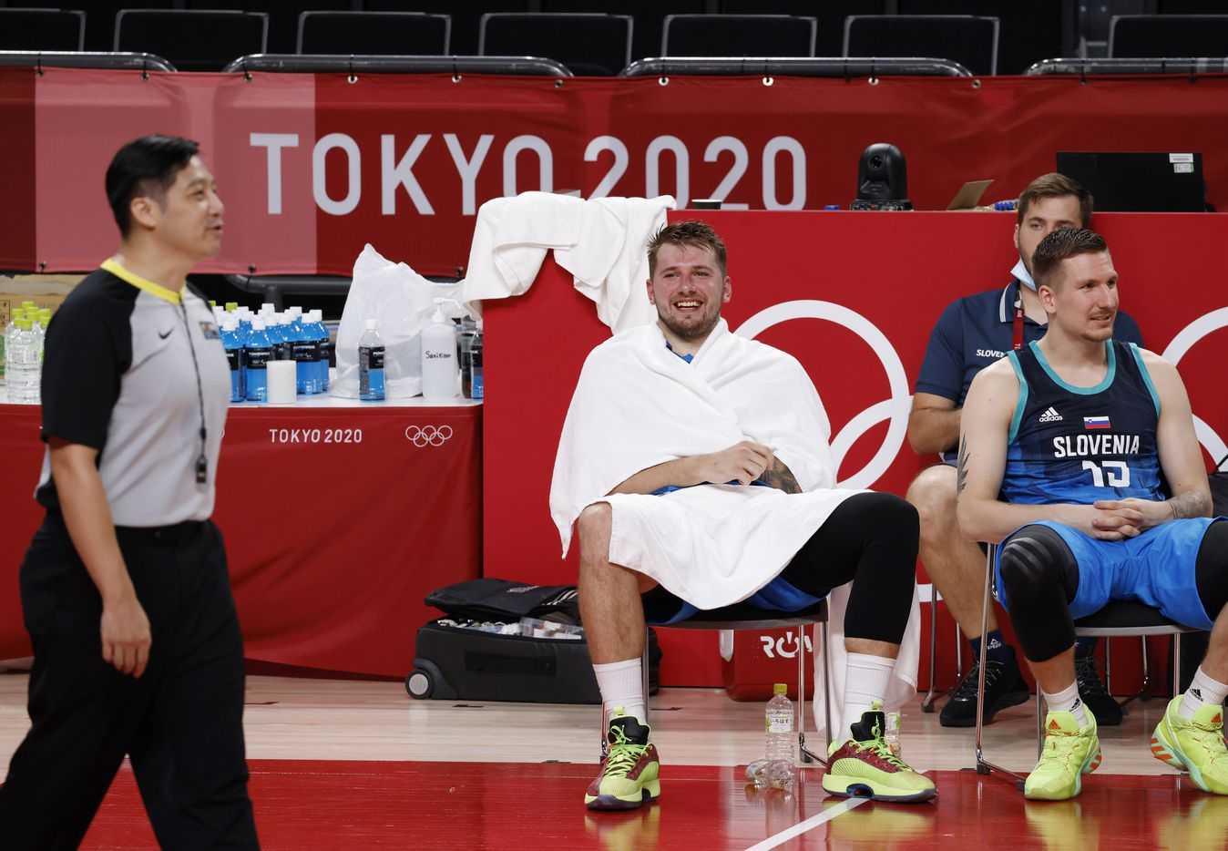 Slovenia's Luka Doncic (77) laughs in the final minutes of play in the second half against Argentina during the postponed 2020 Tokyo Olympics at Saitama Super Arena on Monday, July 26, 2021, in Saitama, Japan. Slovenia defeated Argentina 118-100. (Vernon Bryant/The Dallas Morning News)