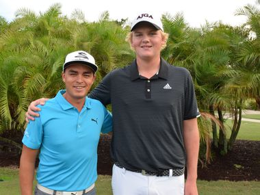 Tommy Morrison of Dallas (right), posing with PGA Tour player Rickie Fowler, was named first-team Rolex Junior All-Americans by the American Junior Golf Association on Oct. 28, 2020.  Morrison, a 6-9, 16-year-old sophomore at a virtual high school, has committed to Texas. He is No. 8 in the AJGA rankings after winning the Southern Junior Championship, tying for second in the Junior Players Championship and finishing third in the Texas Amateur.