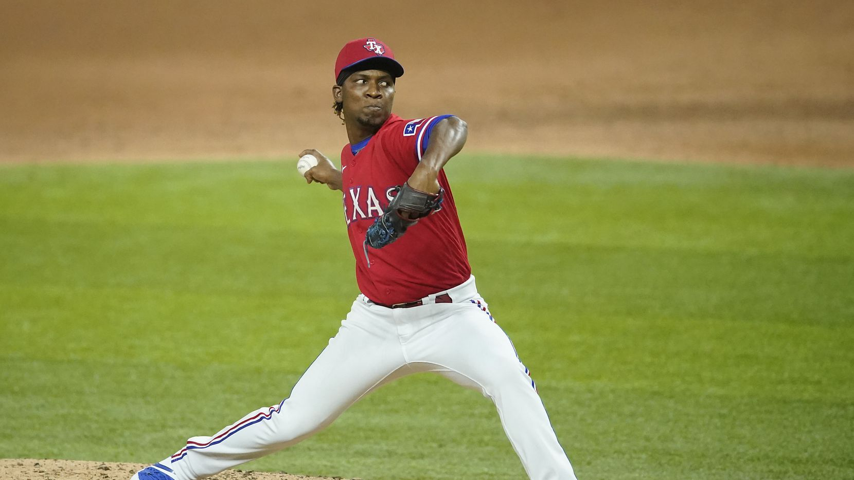 Texas Rangers pitcher Rafael Montero delivers during the ninth inning against the Los Angeles Angels at Globe Life Field on Friday, Aug. 7, 2020.