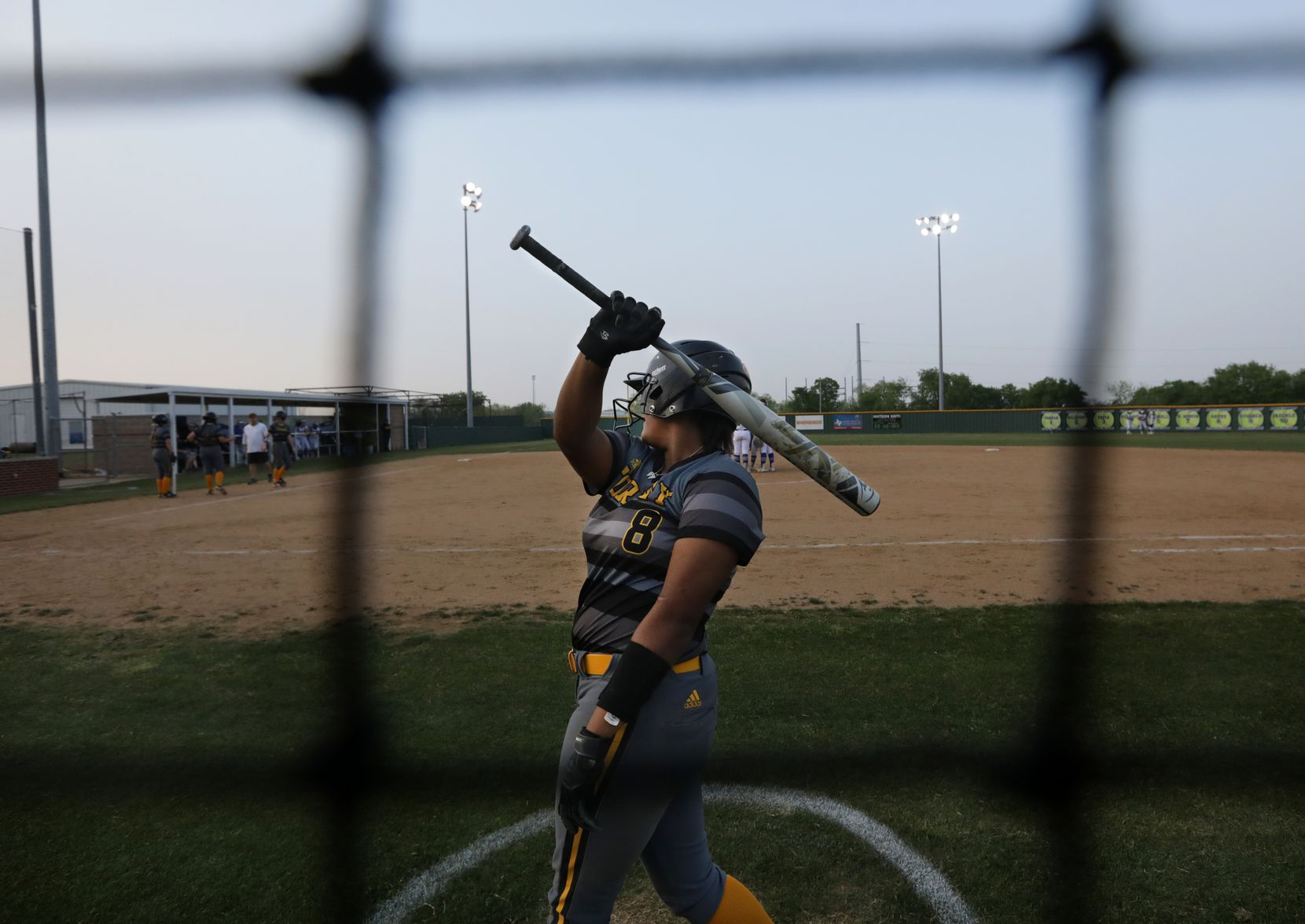 Vanessa Hollingsworth warms up during a softball game between Forney at North Forney at North Forney High School in Forney, TX, on Apr. 9, 2021. (Jason Janik/Special Contributor)