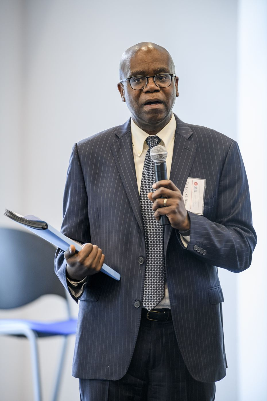 Dr. Eric Bing, a global health expert, at the Rural Superintendent Leadership Symposium at Harold Clark Simmons Hall on Wednesday, May 15, 2019, on the SMU Campus in Dallas. Bing and Beeson helped the Dallas Theater Center and SMU Meadows with their reopening plans.