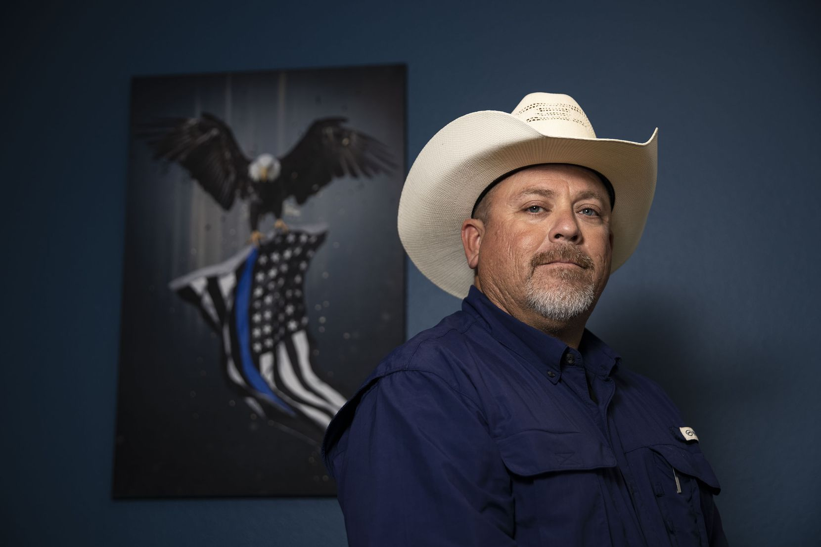 Hood County investigator George Zamarron poses for a portrait at the Hood County Sheriff's Office in Granbury, Texas, on Thursday, July 1, 2021. Zamarron led the sheriff's investigation of the death of Christopher Allen Whiteley.
