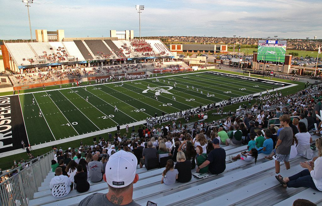 The opening kickoff at the first game played at the new stadium as Prosper High School hosted Rowlett High School in a non-district football game at Children's Health Stadium in Prosper on Friday, August 30, 2019. (Stewart F. House/Special Contributor)