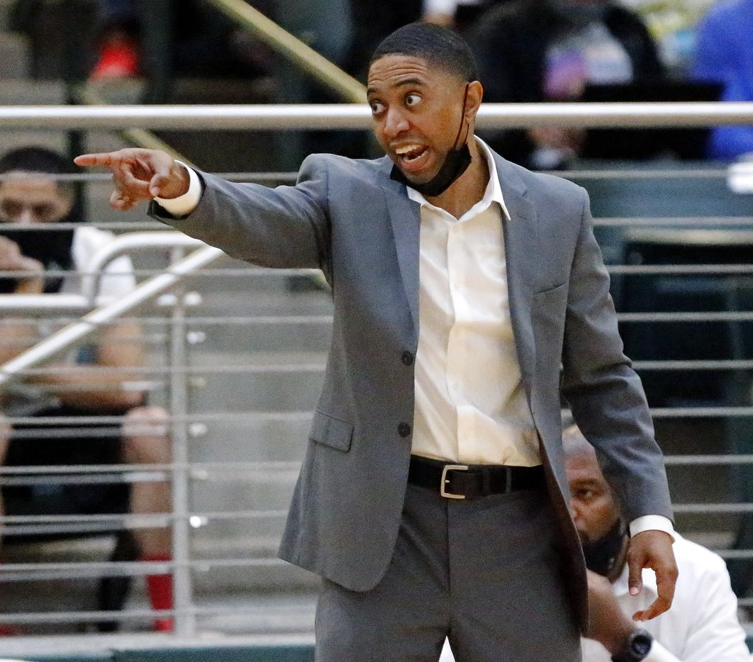 South Grand Prairie High School head coach Brion Raven shouts instruction to his team during the second half as South Grand Prairie High School played DeSoto High School in a class 6A semifinal girls basketball game played at Prosper High School on Saturday , March 6, 2021.  (Stewart F. House/Special Contributor)
