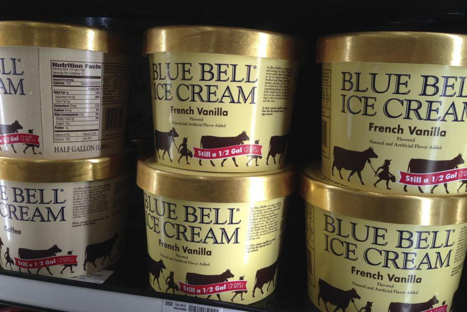In this April 2015, file photo, Blue Bell ice cream rests on a grocery store shelf in Lawrence, Kan. (AP Photo/Orlin Wagner, File)
