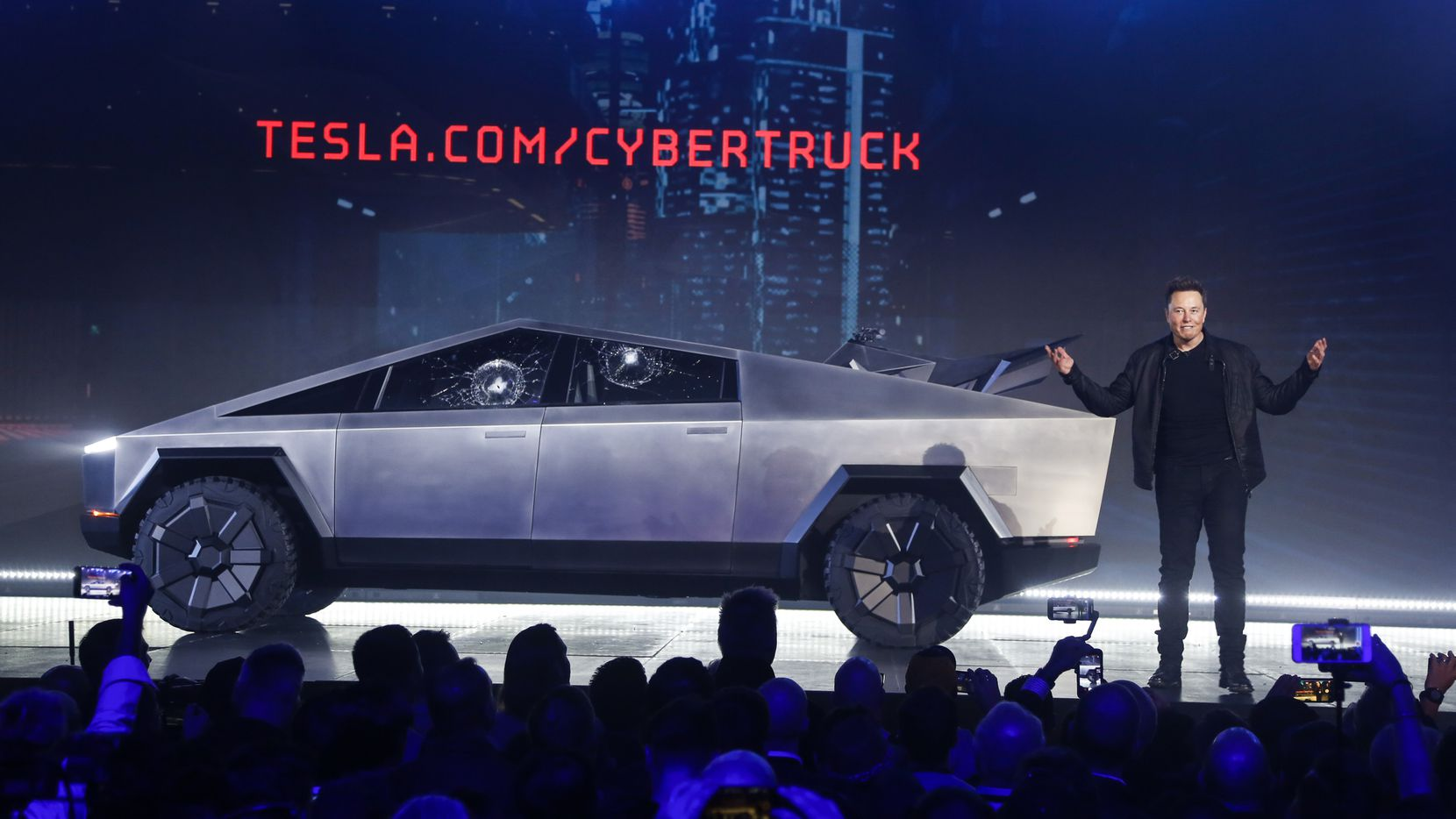 Tesla CEO Elon Musk introduced the Cybertruck at Tesla's design studio in 2019 in Hawthorne, Calif.