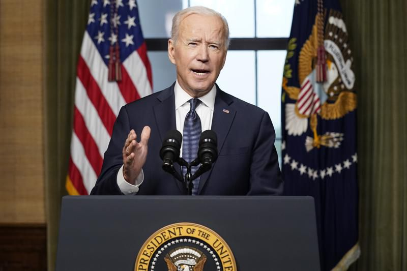 In this April 14, 2021, file photo President Joe Biden speaks from the Treaty Room in the White House about the withdrawal of the remainder of U.S. troops from Afghanistan