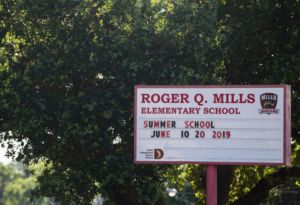 Roger Q. Mills Elementary School is seen Thursday, June 13, 2019 in Dallas. The Dallas ISD school board is considering renaming the school named after Roger Q. Mills, a former Confederate colonel.