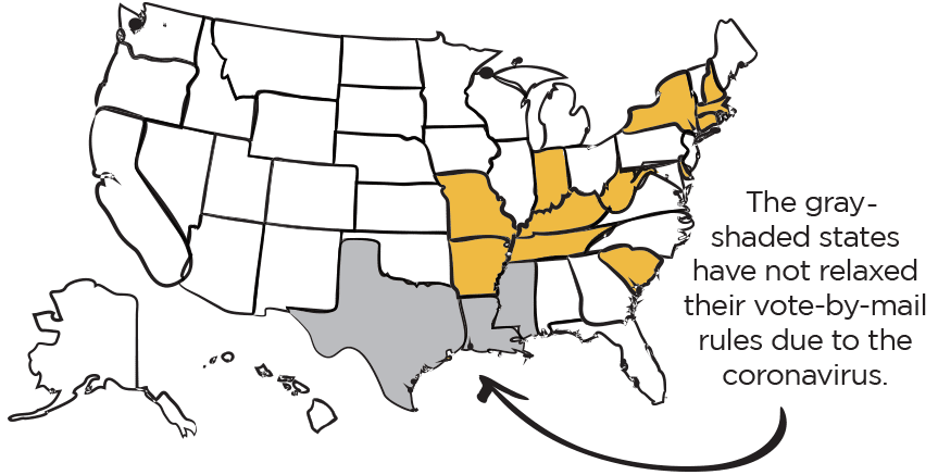 Note: The rules are changing quickly and vary widely by state. Some states require a notary for the coronavirus epidemic to be a valid excuse; some require a witness signature, etc. To see the full list of rules by state, visit ballotpedia.org.