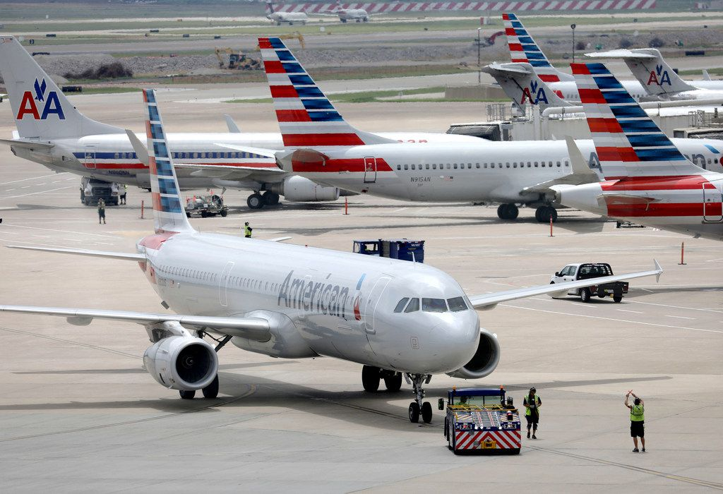 American Airlines aircraft on Friday, Aug. 25, 2017, at DFW International airport.  (Smiley N. Pool/The Dallas Morning News)