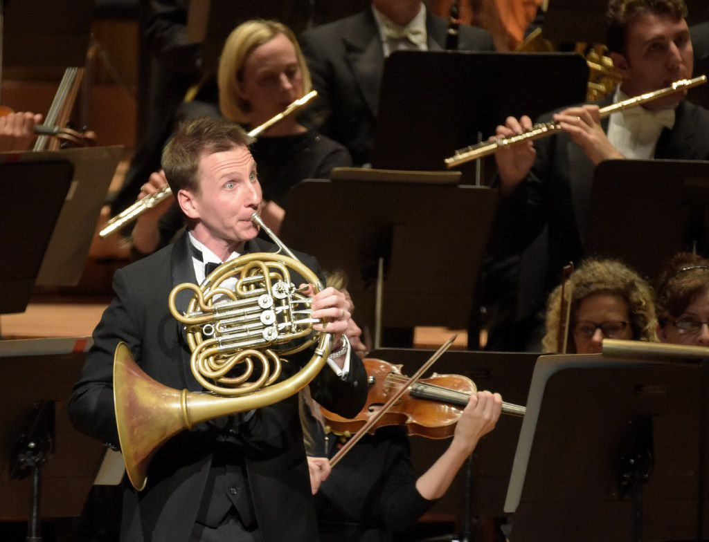 David Cooper performsStrauss' Horn Concerto No.1  at the Morton H. Meyerson Symphony Center on Thursday.   (Rex C. Curry/Special Contributor)
