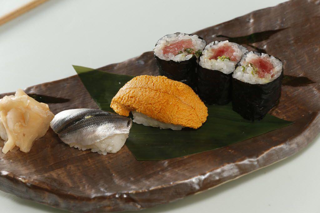 Nigiri sushi and a toro roll at Yutaka Sushi Bistro
