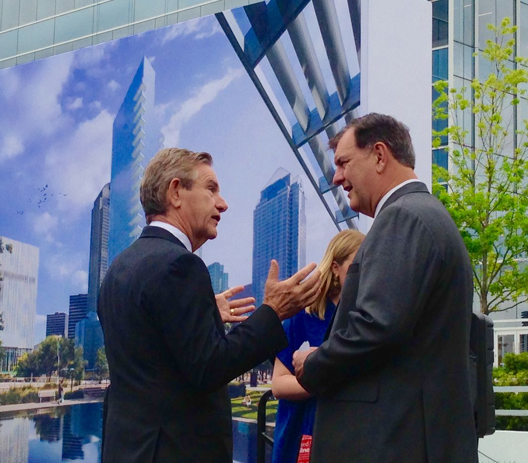 Developer Craig Hall and Dallas Mayor Mike Rawlings (right) at the groundbreaking for the $250 million Hall Arts tower in the Arts District.