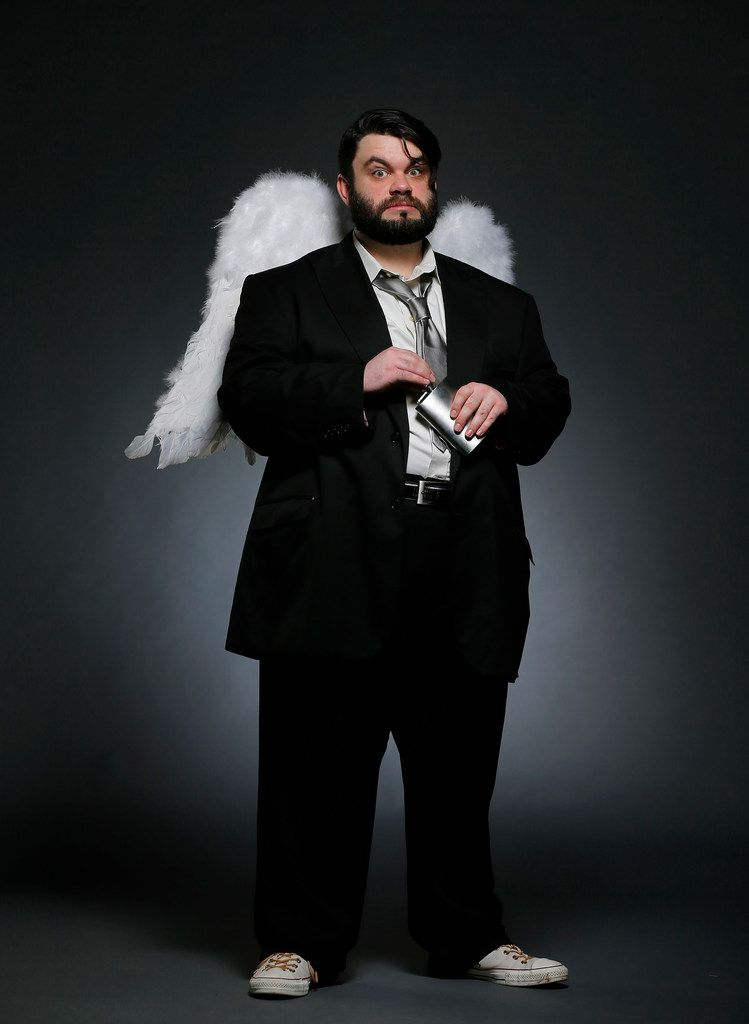 """Dallas performing artist Isaac Young as an """"angel"""" for his upcoming   production of The Book of Gabe. Isaac is the founder of the recently launched Eccentric Bear   Theater Co. and this will be his first show for Wild Detectives."""