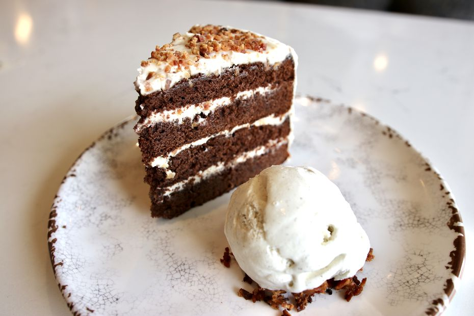 Chef Stephan Pyles created one dessert for Fireside Pies in their 2020 collaboration: a chocolate bacon bourbon cake.