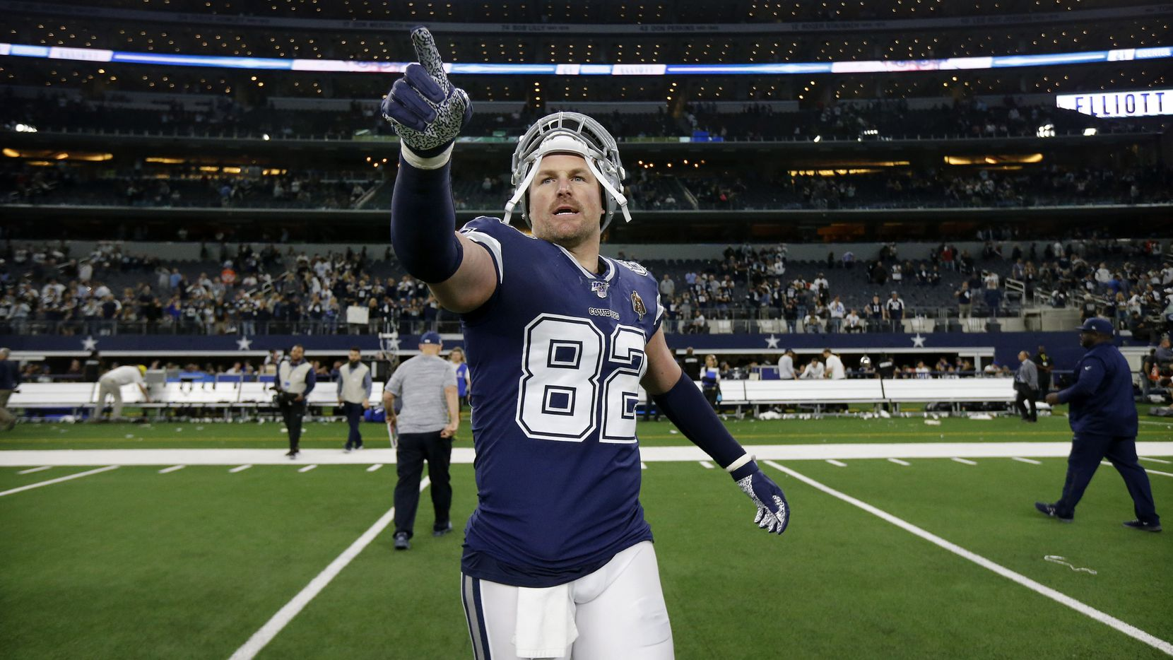 FILE - Cowboys tight end Jason Witten (82) leaves the field after a game against the LA Rams at AT&T Stadium in Arlington on Sunday, Dec. 15, 2019.