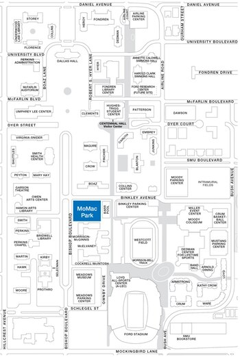 SMU revised its policy that stated that displays could only be placed at Morrison-McGinnis Park, colored blue in the above map.