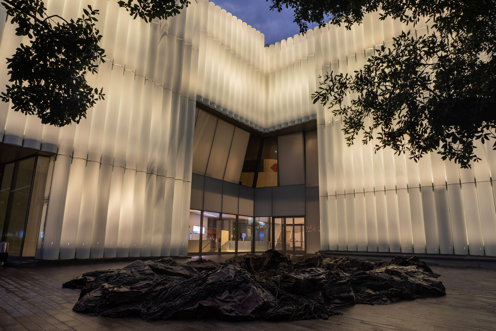 The MFAH's new Kinder building appears at night on Tuesday.