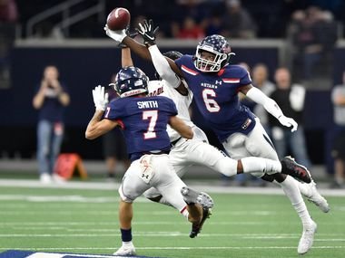 Ryan defensive back DJ Allen (6) breaks up a pass thrown to Heritage wide receiver Chad Turner (5) at the Ford Center at the Star, Dec. 7, 2019, in Frisco, Texas.