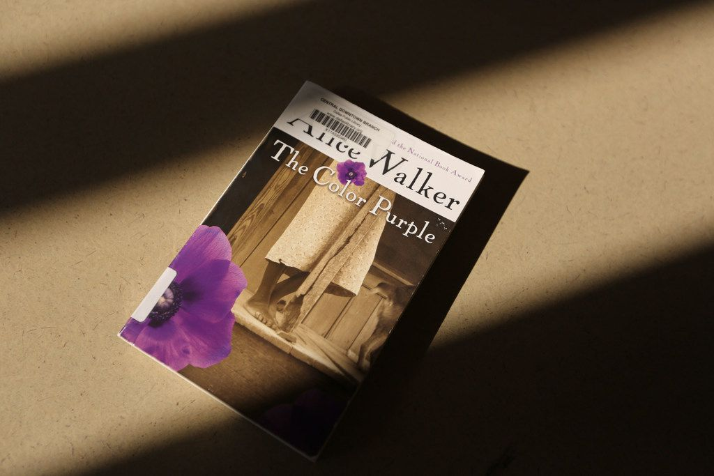 Alice Walker's The Color Purple is on the banned list. Photographed at the Dallas Public Library on Tuesday, November 28, 2017.