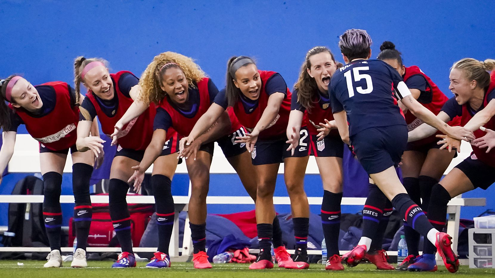 USA forward Megan Rapinoe celebrates with teamates after scoring on a penalty kick during the first half of a SheBelieves Cup soccer game against Japan on Wednesday, March 11, 2020, in Frisco, Texas.