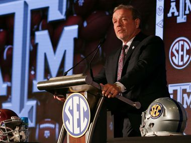 Texas A&M head coach Jimbo Fisher speaks to reporters during an NCAA college football news conference at the Southeastern Conference media days, Wednesday, July 21, 2021, in Hoover, Ala.