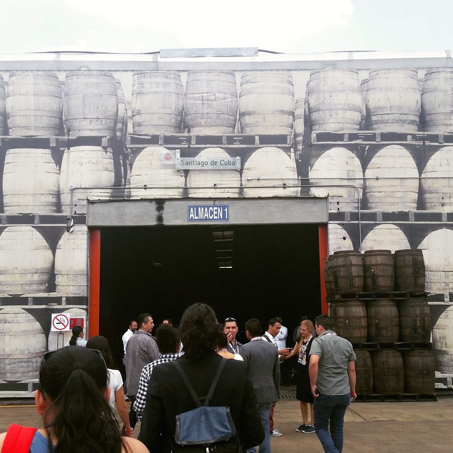Part of the tour included a walk inside the barrel warehouse, where misters overhead moistened the air to maintain the proper environment.
