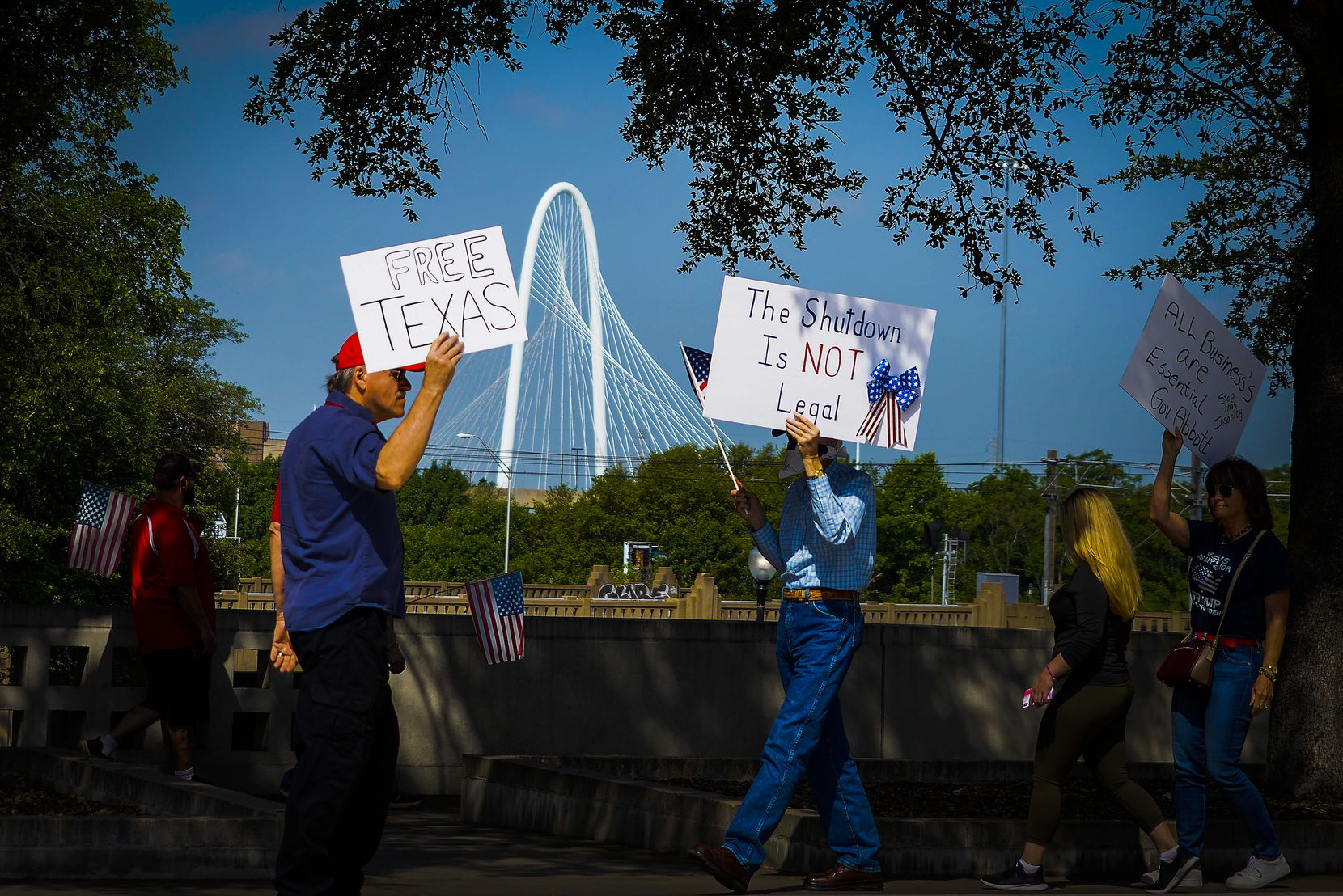 Protesters rallied against government stay-at-home orders at Dealey Plaza in Dallas on April 21, 2020.