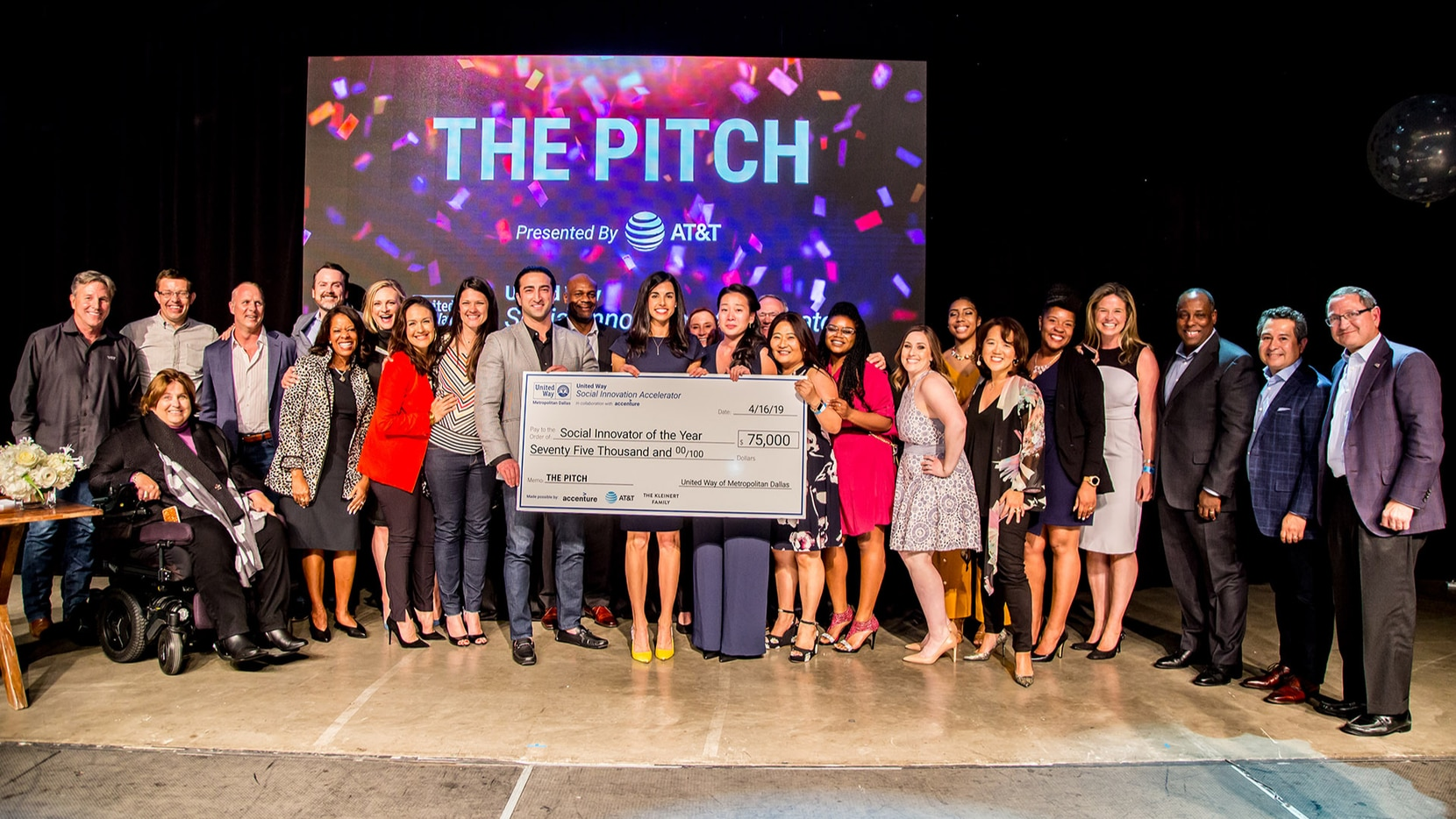 United Way Dallas 2019 Social Innovator of the Year, Poetic, on stage at The Pitch with their Social Innovation Accelerator mentors, judges panel and supporters.