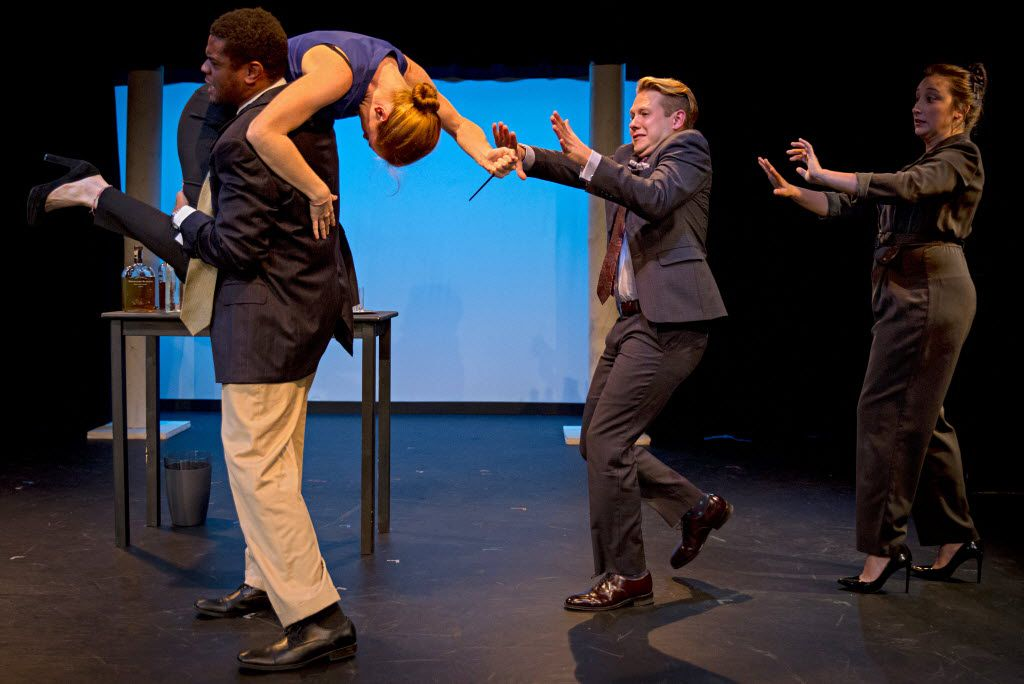 """(From left) Cast members Ryan Christopher Woods, Lindsey Ryan, Brady Stebelton and Kristen Kelso perform a scene from the one-act play """"Wealth Management"""" Saturday, July 16, 2016 at the Bath House Cultural Center in Dallas. The play, written by Ted Gwara, is part of the 18th Annual Festival of Independent Theatres. (G.J. McCarthy/The Dallas Morning News)"""