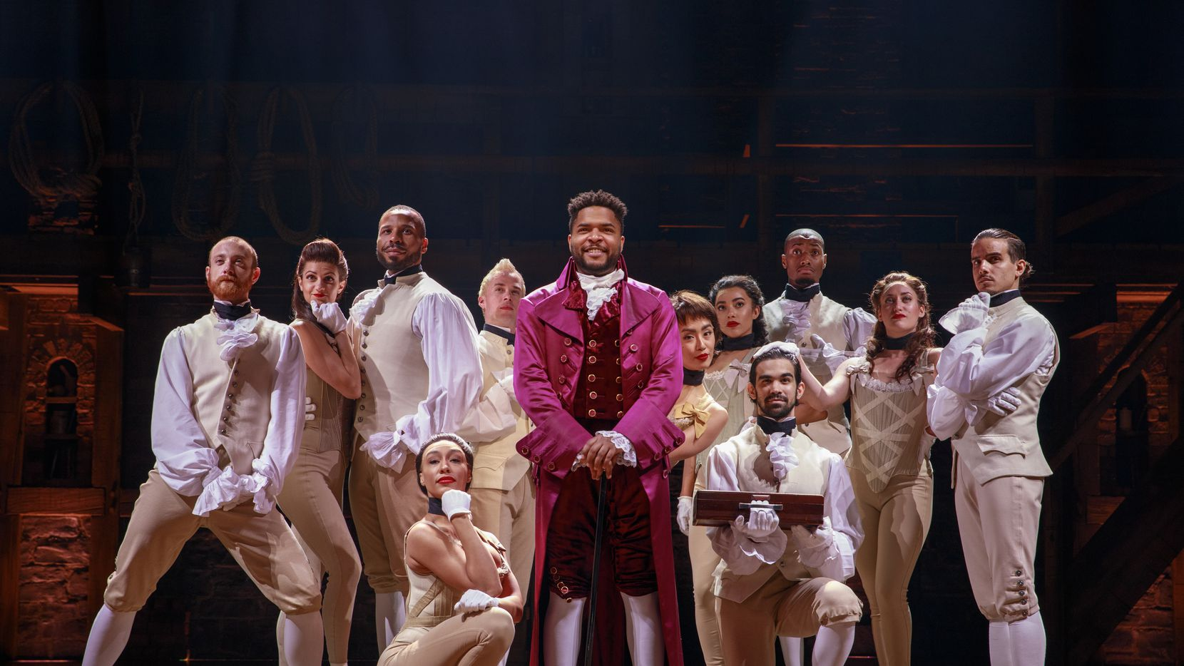 """Bryson Bruce, who portrays Thomas Jefferson in the national touring production of """"Hamilton"""" coming to Bass Performance Hall in Fort Worth next June, with other members of the cast."""