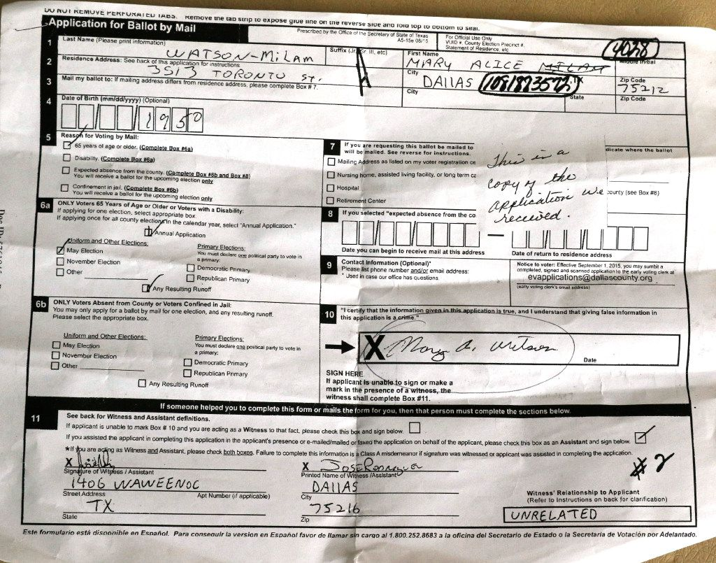 This is an application for ballot by mail a friend gave Pat Stephens recently in Dallas. Pat is among dozens of potential victims of voter fraud this election cycle in West Dallas and Grand Prairie. A suspicious man came to her door claiming to work for Dallas County and asking for her mail-in ballot. She instead demanded to see his driver's license. (David Woo/The Dallas Morning News)