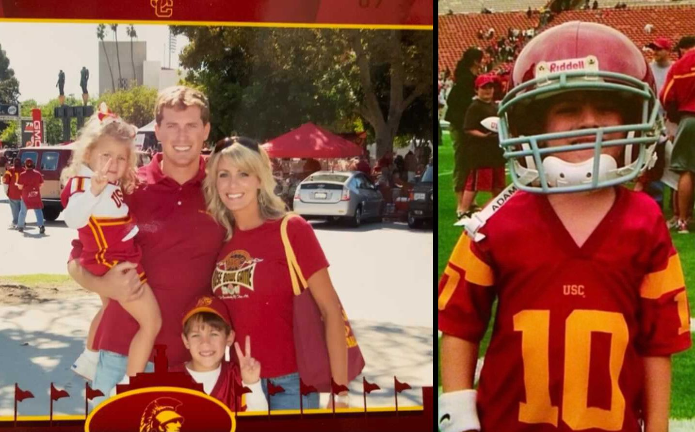 When he was younger, General Booty, and his family, went to see his uncle, John David Booty, play for the University of Southern California. General work his uncle's No. 10 jersey.  His family in the photo on the left includes sister Avery (far left), father Abram (center) and mother Amy.