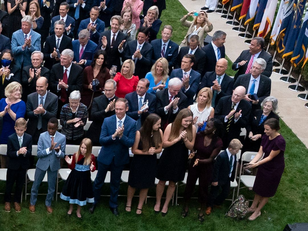 Gateway Church's senior pastor, Robert Morris (seated in the fourth row, top left of the photo), attended the Sept. 26 White House Rose Garden event marking the announcement of the Supreme Court nomination of Amy Coney Barrett.