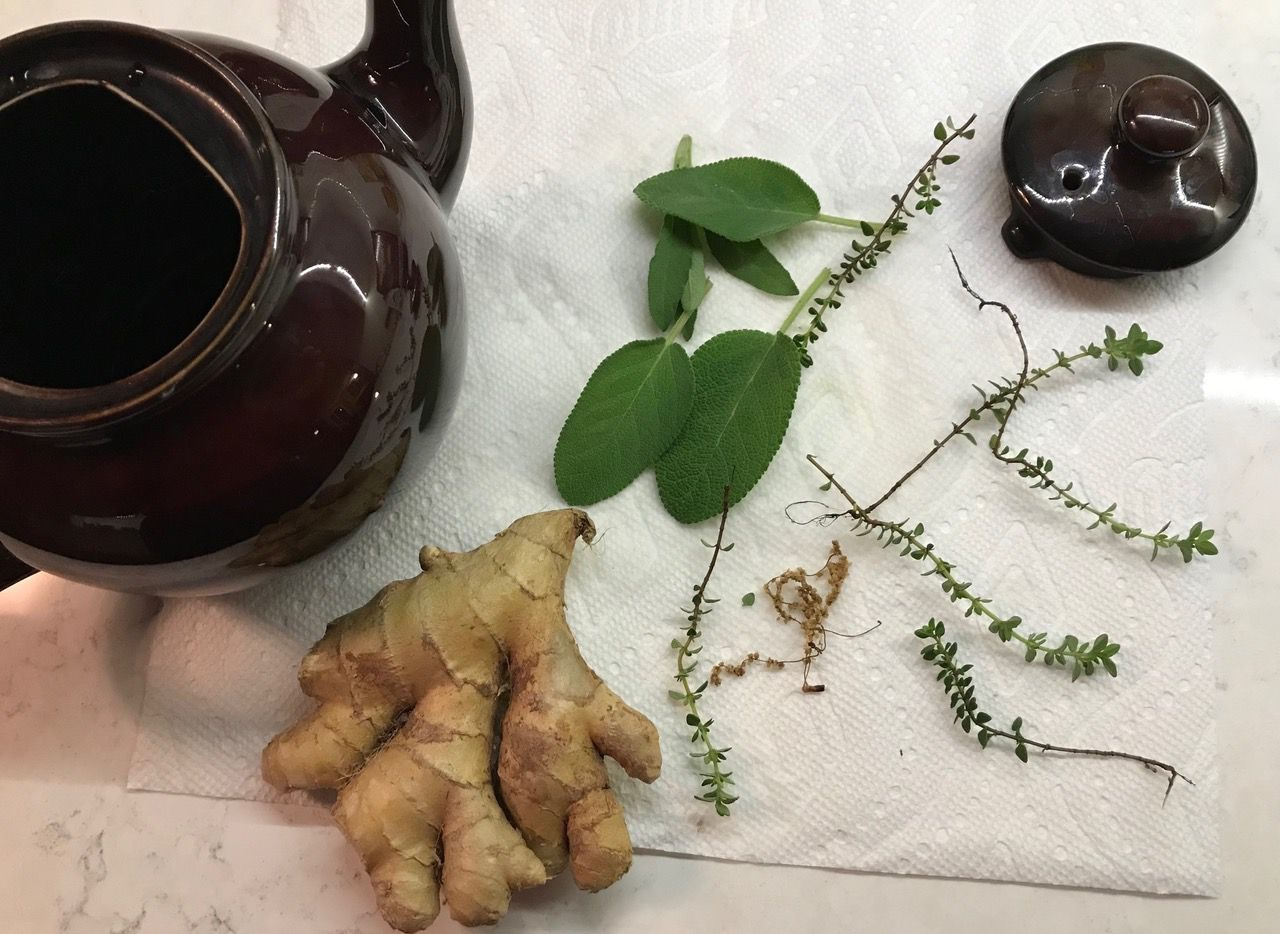 Ginger, sage and thyme are three common ingredients for herbal tea.