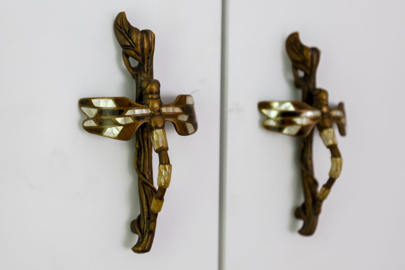 Cabinets in the master bedroom have dragonfly handles.